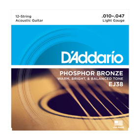 D'Addario Phosphor Bronze EJ38 12 String Light Gauge