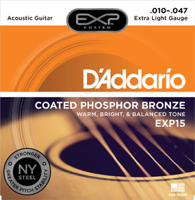 D'Addario Coated Phosphor Bronze EXP15 Extra Light Gauge