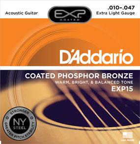 D'Addario Coated Phosphor Bronze EXP15 Extra Light Gauge