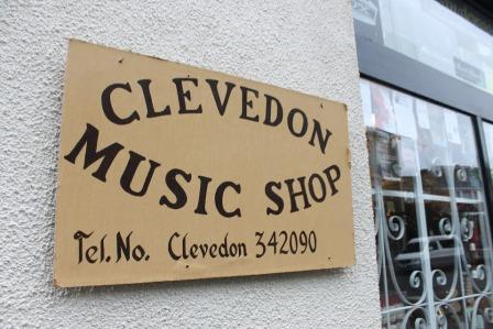 The original shop sign for Clevedon Music shop